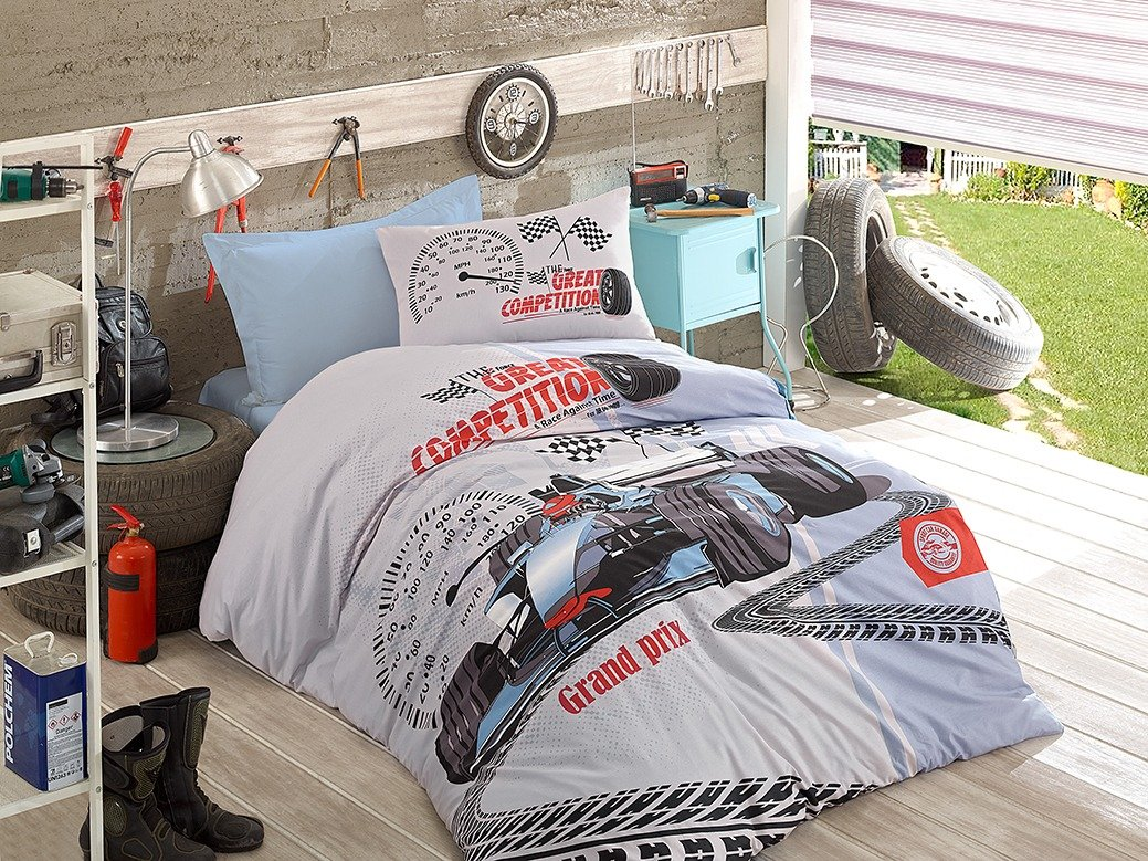 DecoMood Cars Bedding for Kids Quilt/Duvet Cover Set with Fitted Sheet, 100% Cotton Boy's Bedding Linens, Generic Formula 1 Racing Car Illustration, Single/Twin Size, COMFORTER INCLUDED (4 Pcs) by DecoMood
