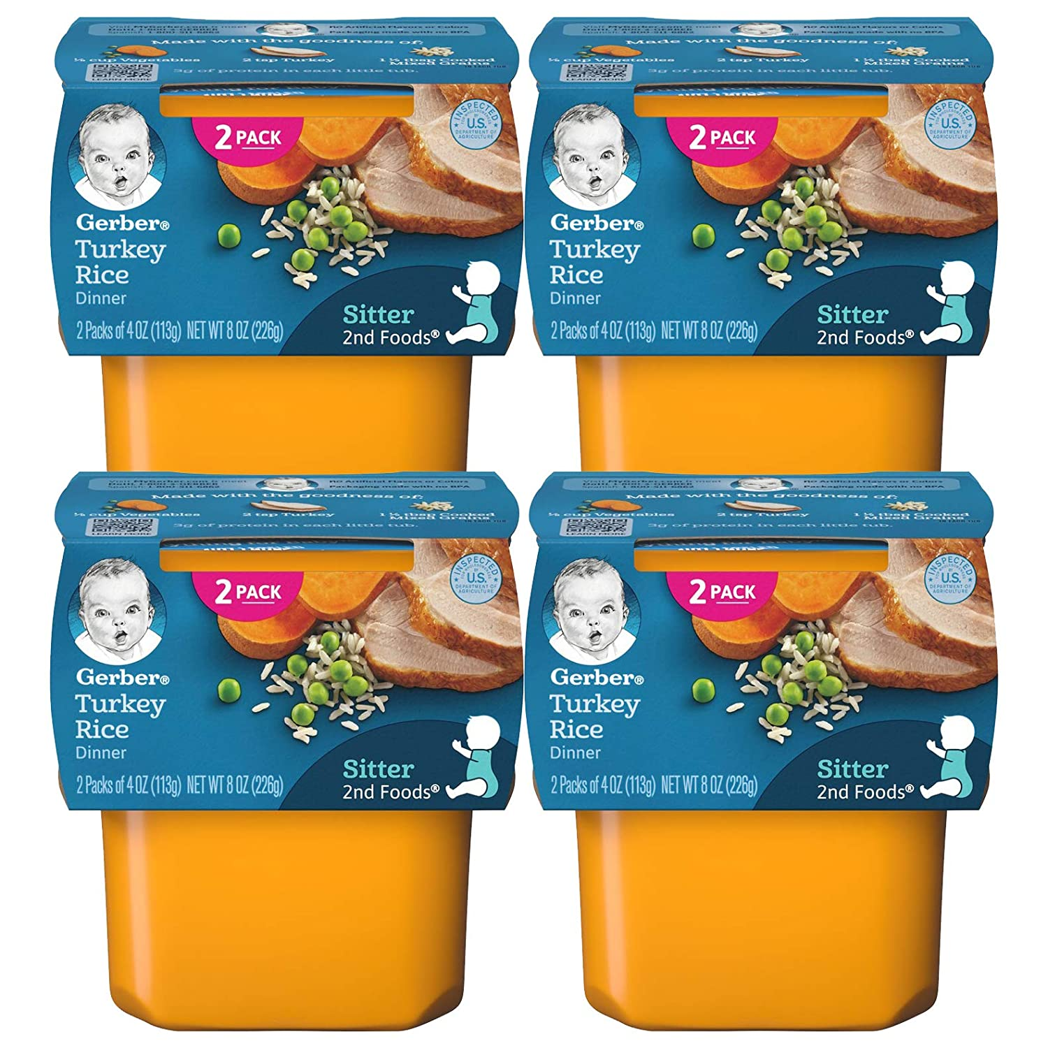 Gerber Baby Food, 2nd Foods, Turkey and Rice, 8 OZ (Pack of 4)
