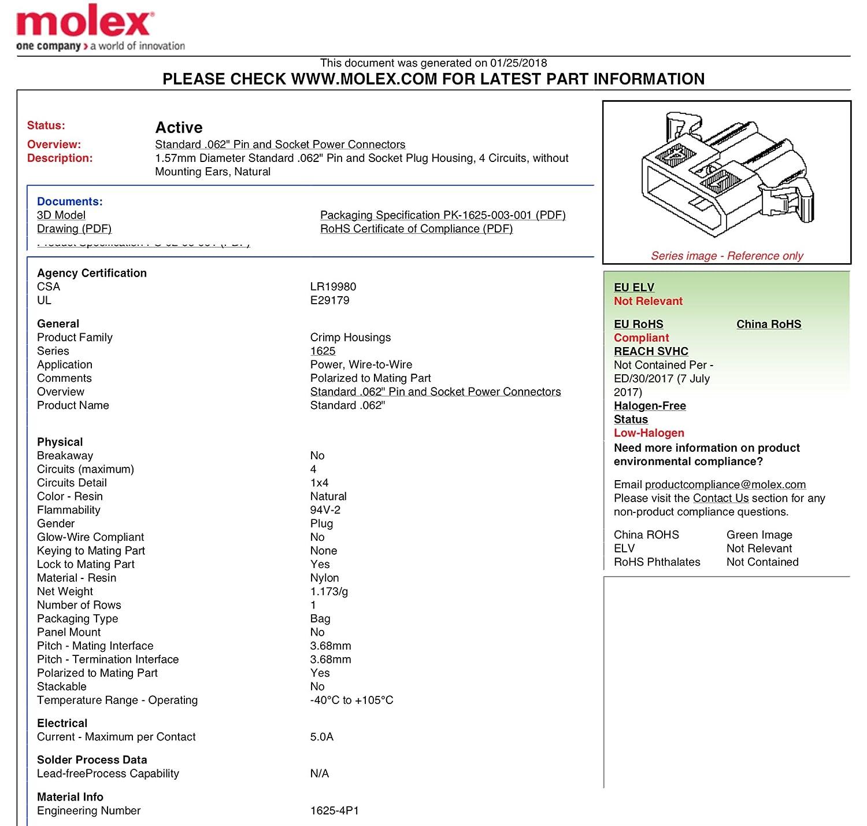 molex 4 circuits male female receptacle plug w terminal sockets rh amazon com