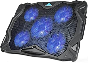 """Laptop Cooling Pad, TeckNet USB Powered Silent Gaming Laptop Notebook Cooler Cooling Pad Stand with 5 Fans and Blue LED Lights for MacBook Pro, Fits 12""""-17"""" …"""