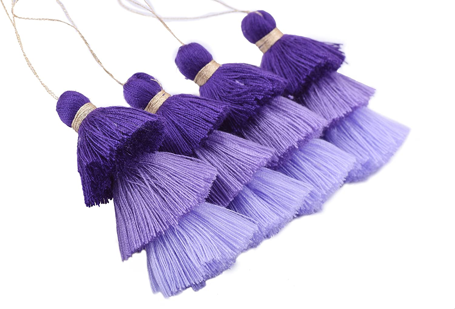 Clothing KONMAY 4pcs Tri-Layered Tassels with Hanging Loop for Jewelry Making