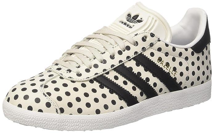 adidas Damen Gazelle Fitnessschuhe Sneaker Weiß mit Schwarzen Punkten
