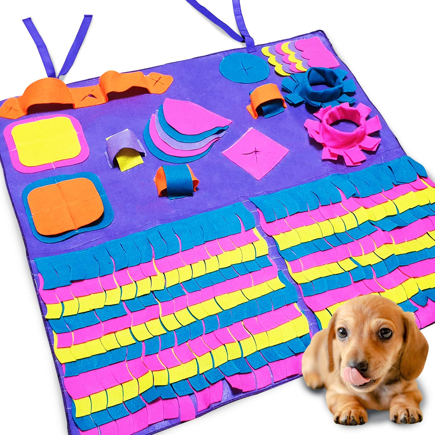 Dog Food Mat by Seonova Snuffle Mat - Interactive Puzzle Toys Feeder for Dogs - Slow Feeding Mat - Stimulates Brain & Engages Smell - Machine Washable - All Breeds & Sizes - Nosework & Rooting Mat by SEONOVA