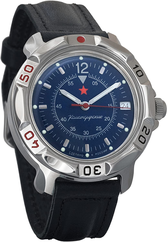 Vostok Komandirskie Dark-Blue Dial Army Mechanical Mens Military Commander Wrist Watch 811398