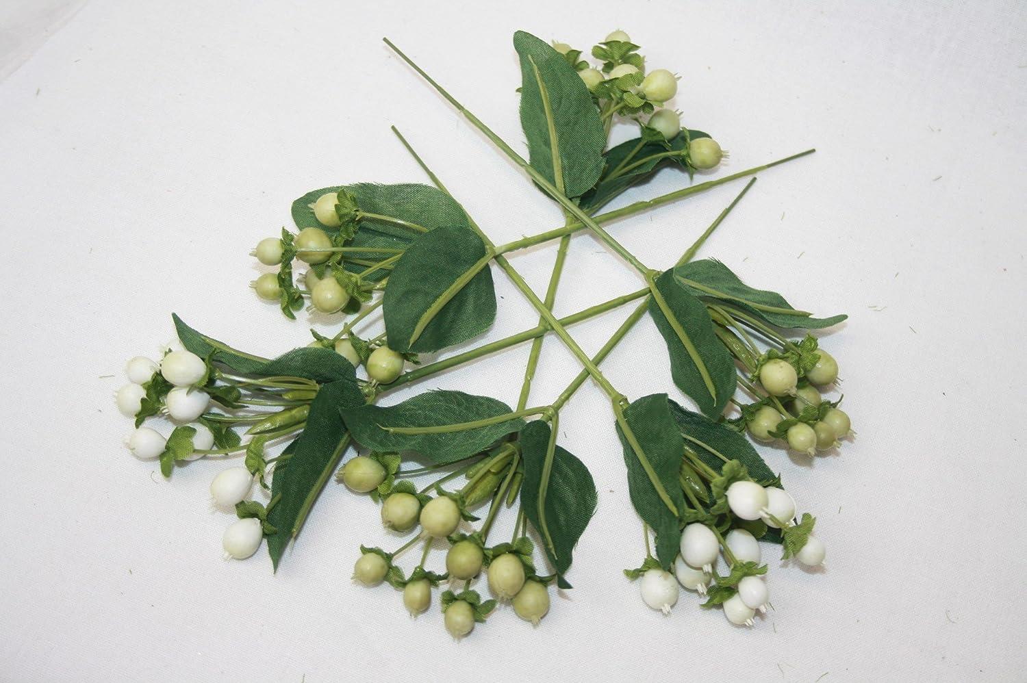 16cm Artificial Hypericum Berries - Green & White x 6 Sprays Groves
