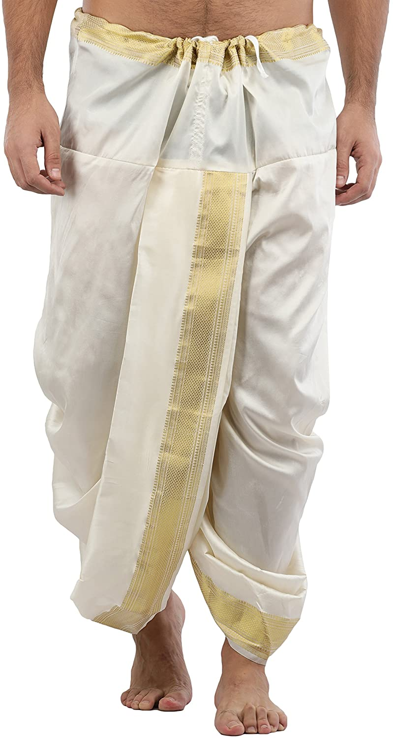 Exotic India Ready to Wear Silk Dhoti with Wide Golden Border - Beige SPF60