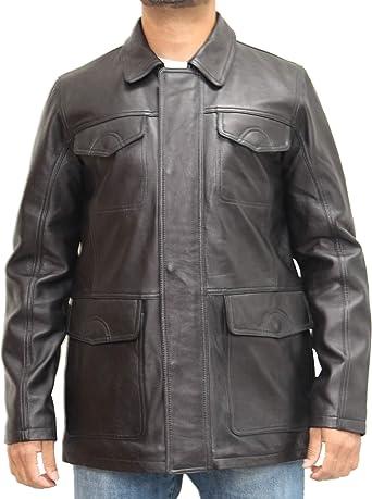 Chaqueta de Cuero Estilo Safari Negro de Cuero Real para Hombre con Cuello de Camisa: Amazon.es: Ropa y accesorios