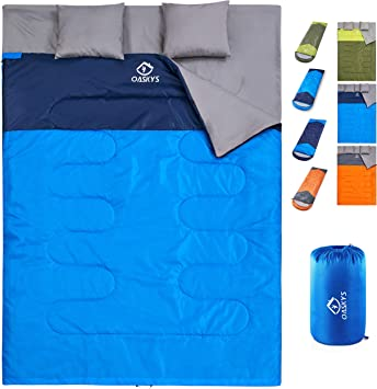 oaskys Camping Sleeping Bag - 3 Season Warm & Cool Weather - Summer, Spring, Fall, Lightweight, Waterproof for Adults & Kids - Camping Gear Equipment, ...