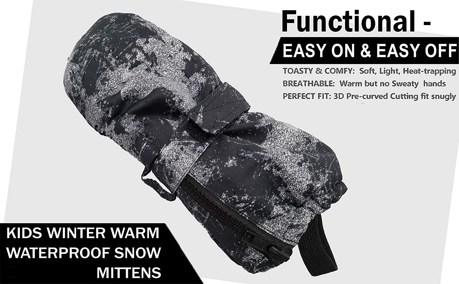 Slim Fit for Skiing Kids Winter Ski Snow Mittens Waterproof Warm with Zipper for Toddler Boy Girl