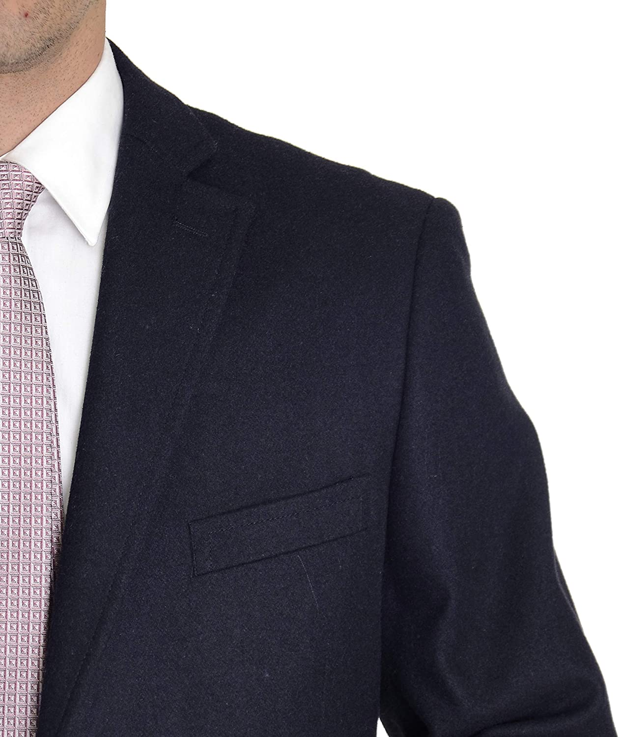 The Suit Depot Mens Wool Cashmere Single Breasted 3//4 Length Top Coat Overcoat