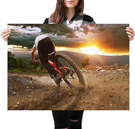 A1Mountain Biking Downhill Racer Poster Art Print 60 x 90cm 180gsm #16150
