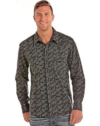 Rock Roll Cowboy Men S Paisley Print Long Sleeve Shirt B2s5715