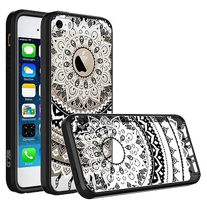 320025a8c34 iPhone 5 5S Case, iPhone SE Case, SmartLegend Retro Totem Mandala Floral  Pattern Clear Acrylic PC Hard Back Cover with TPU Bumper Frame Hybrid  Transparent ...