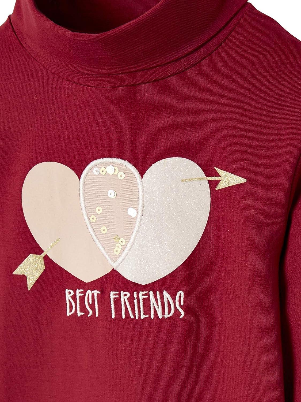 Vertbaudet T-Shirt col Montant Fille Motif Coeur /à Sequins et Paillettes Grenat 10 A