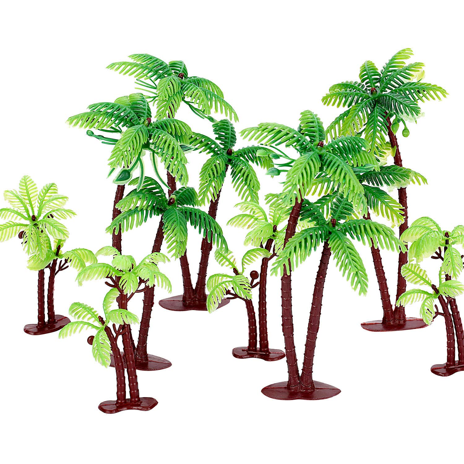 Jovitec 16 Pieces Green Palm Tree Cupcake Topper with Coconuts Cake Topper for Cake Decorations, 5.5 Inch and 3.15 Inch