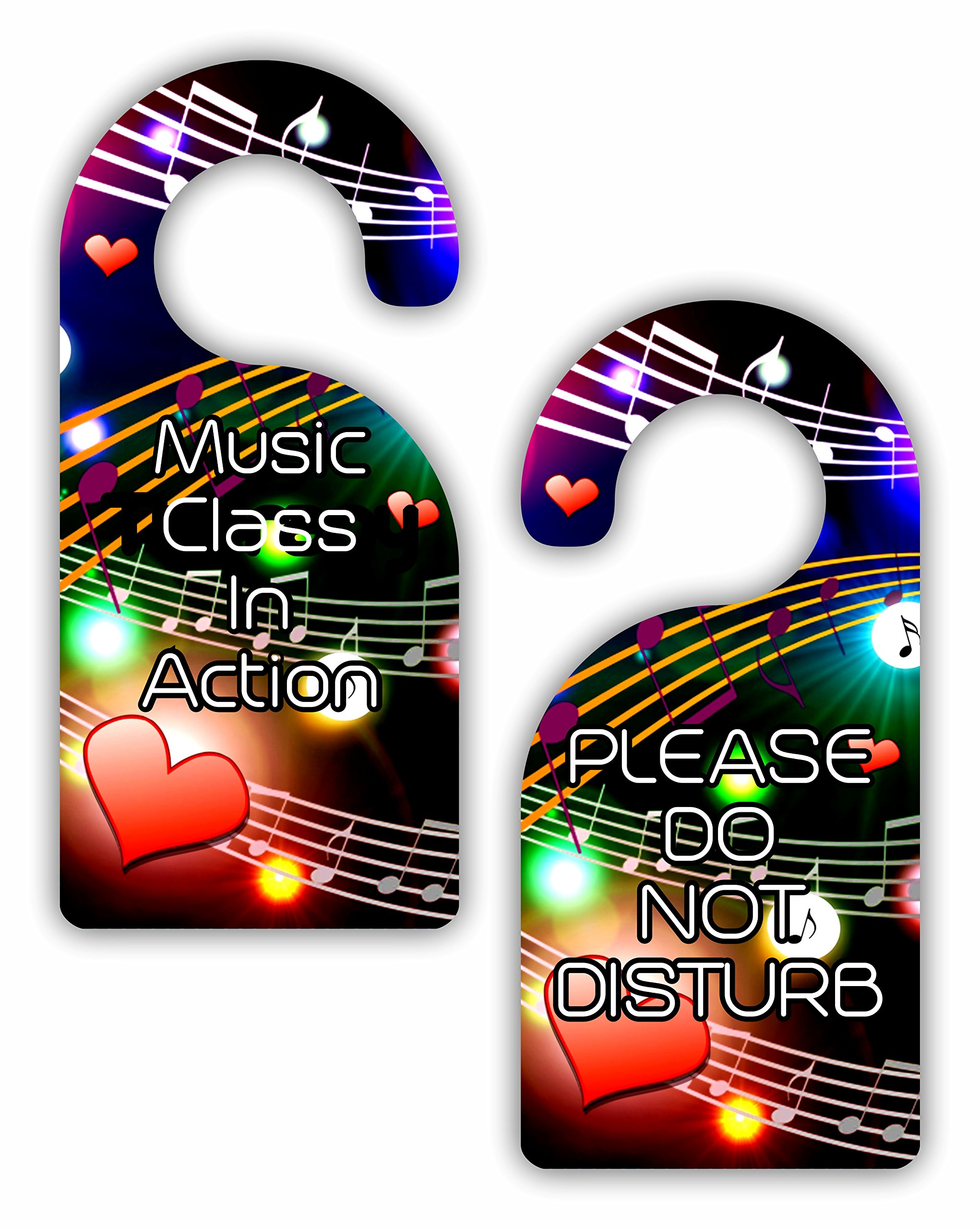 Music Class in Action/Please Do Not Disturb - Multicolored Musical Clefs and Notes - Double-Sided Hard Plastic Glossy Door Hanger