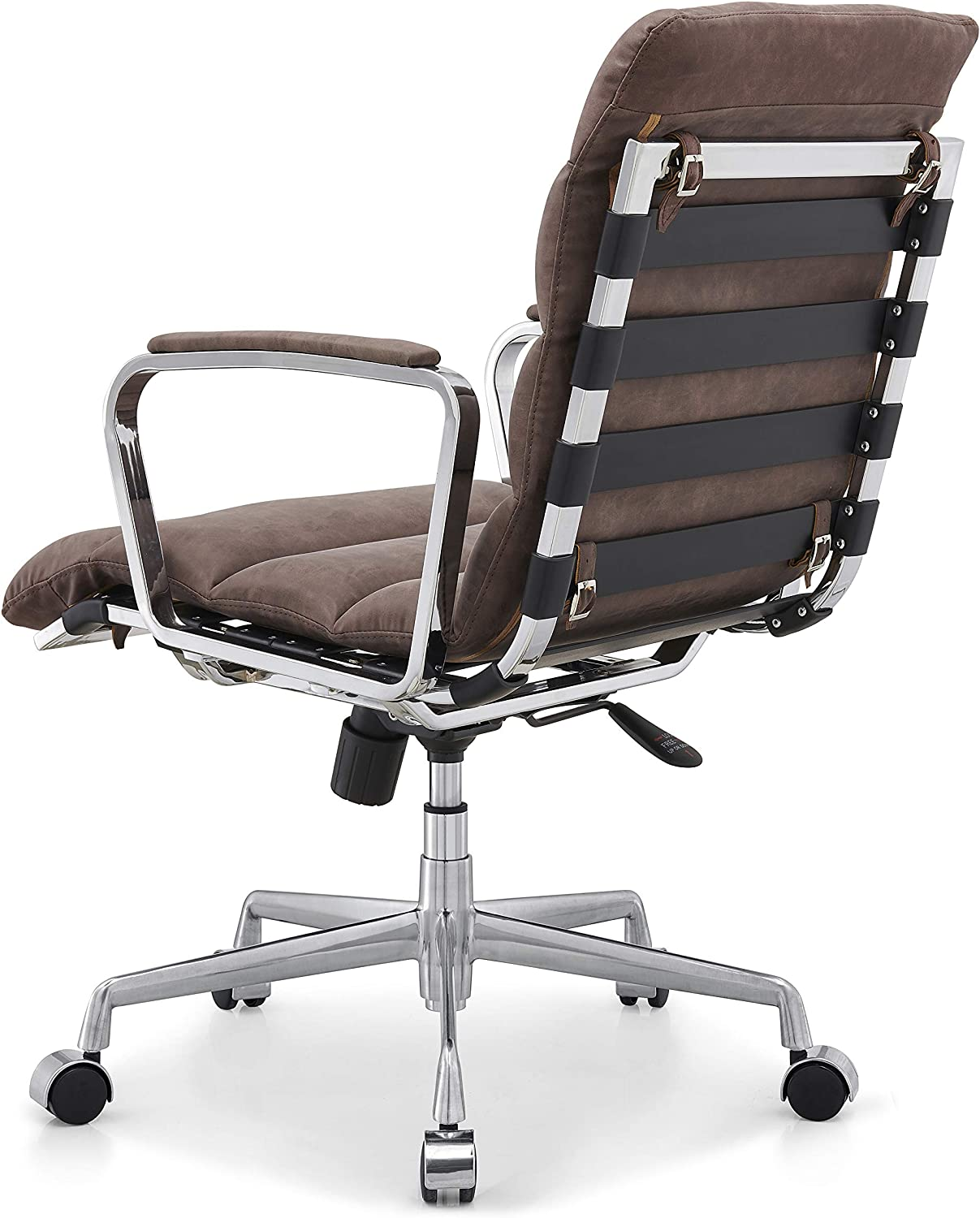 Cherry Tree Furniture Kingston Vintage Effect Faux Leather Office Chair with Chrome Frame & Aluminium Base (Brown PU) Brown Pu