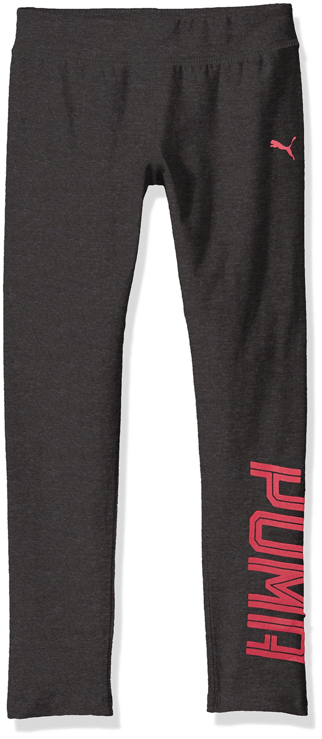 PUMA Big Girls' Logo Legging, Dark Heather Grey, Large (12/14)
