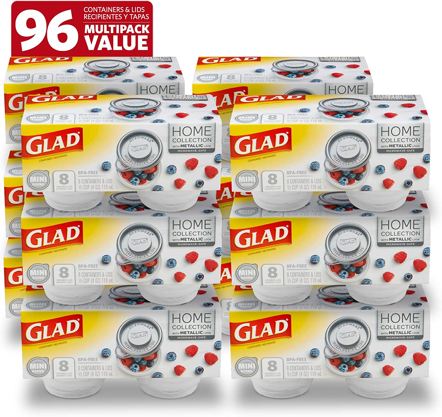 Glad Food Storage Containers, 8 Count (Pack of 12), Home Collection, 12