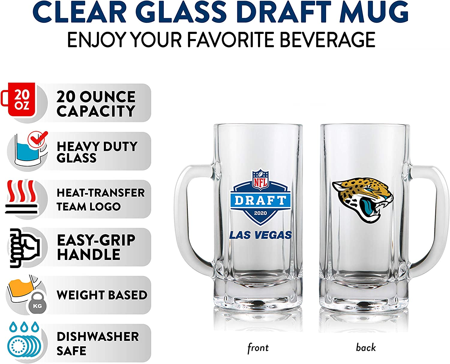 Heavy Duty Glass with Handle Weighted Base NFL Draft Mug 2020 20 Oz.