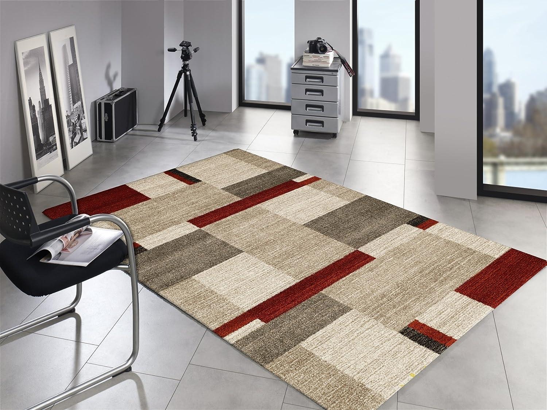 LORD KERNEL moderner Designer Teppich in beige-braun-rot, Größe  140x200 cm