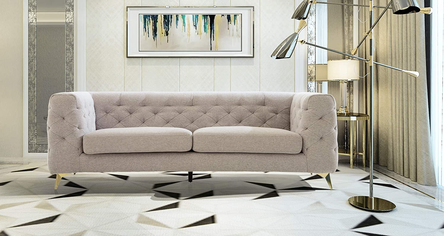 Iconic Home Soho Sofa Linen Textured Upholstery Plush Tufted Shelter Arm Solid Gold Tone Metal Legs Modern Transitional, LIGHT GREY