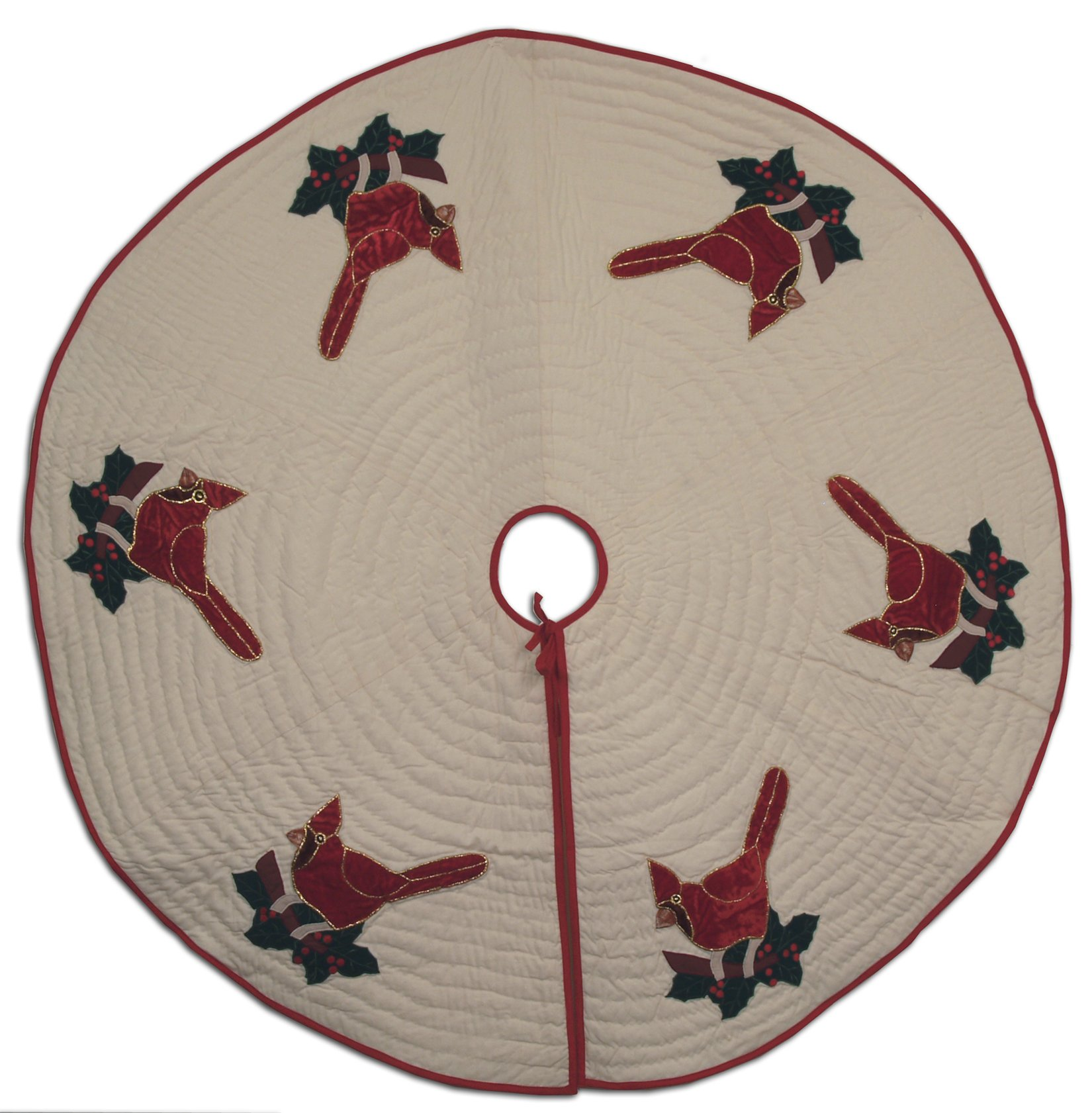 Velvet Cardinals Appliqued on 100% Cotton Off-White fabric Quilted Christmas Tree Skirt 45'' Round Handmade Hand Quilted Heirloom Quality