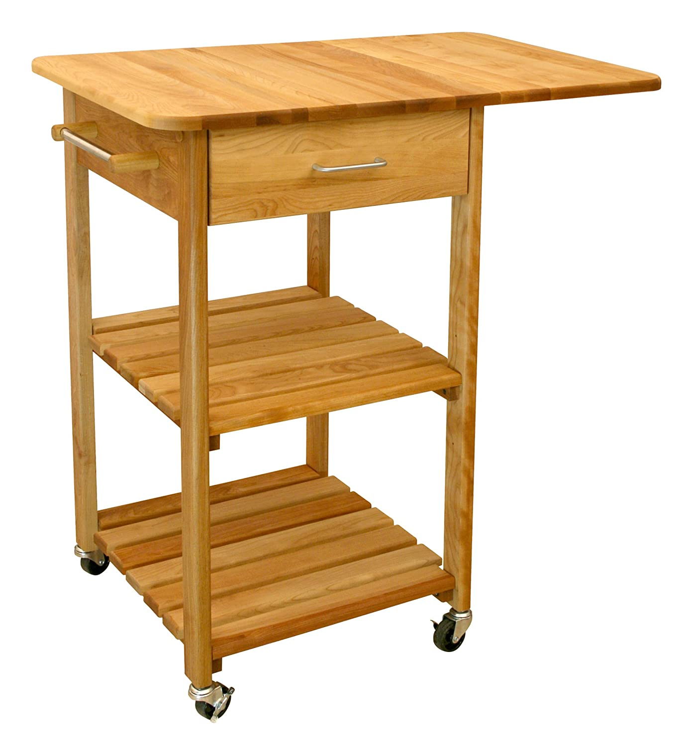Amazon.com: Catskill Craftsmen Butcher Block Cart with Two Shelves: Kitchen  & Dining