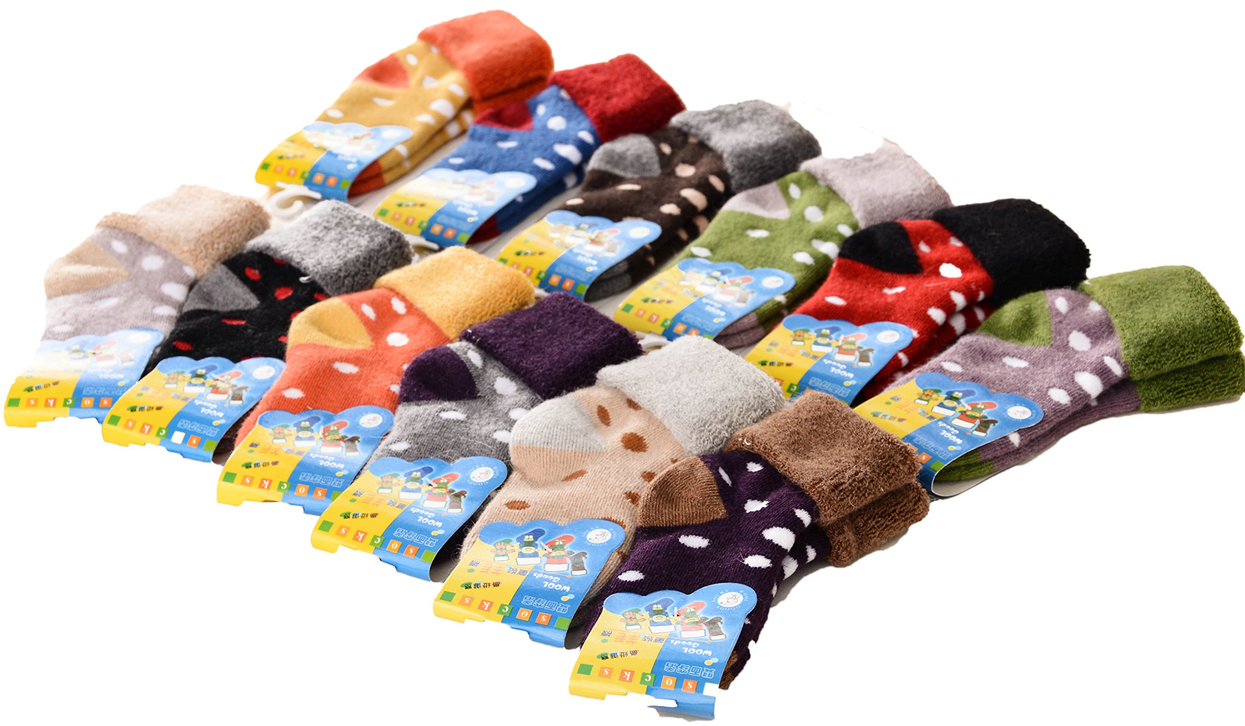 Lovely Annie 8 Pairs Children Wool Dotted Socks Boy 12M-36M Random Color by Lovely Annie