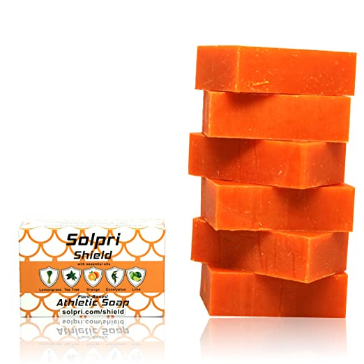 Solpri Shield Antifungal Soap Bar Lemongrass Tea Tree Eucalyptus 4 oz (6 Pack)