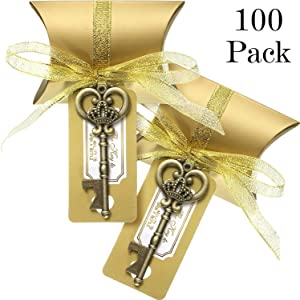 100 Sets Metal Large Skeleton Key Bottle Openers Wedding Favor Souvenir Gift Set Pillow Shape Candy Box Escort Tag Card French Ribbon and Stickers for Guests (Antique Gold)