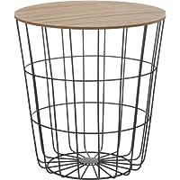 Meinposten Korbtisch Metall Tisch mit Stauraum Ø 39 cm H=41 cm Metall/Holz Besitelltisch Schwarz