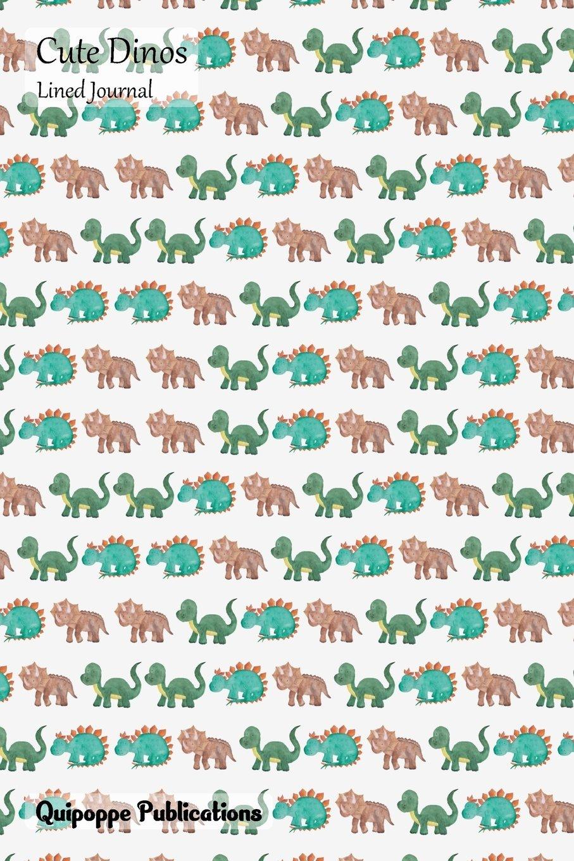 Cute Dinos Lined Journal: Medium Lined Journaling Notebook, Cute Dinos Walking Dinos Pattern Cover, 6x9