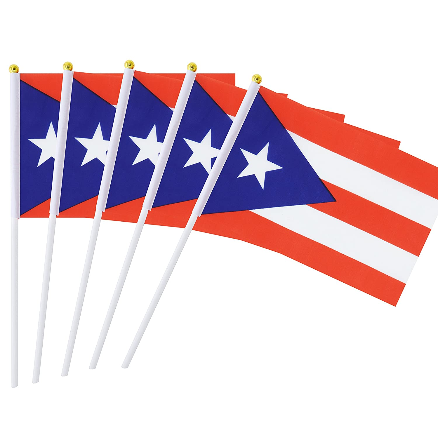 25 pack hand held small mini flag puerto rico flag puerto rican stick flag round top national country flagsparty decorations supplies for paradesworld cup