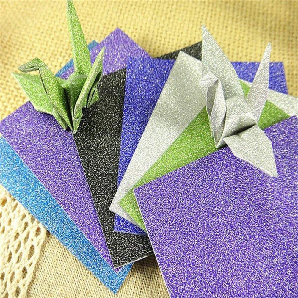 ULTNICE Feuilles carr/ées de papier dorigami de 12 feuilles de paillettes pour des projets dartisanat darts