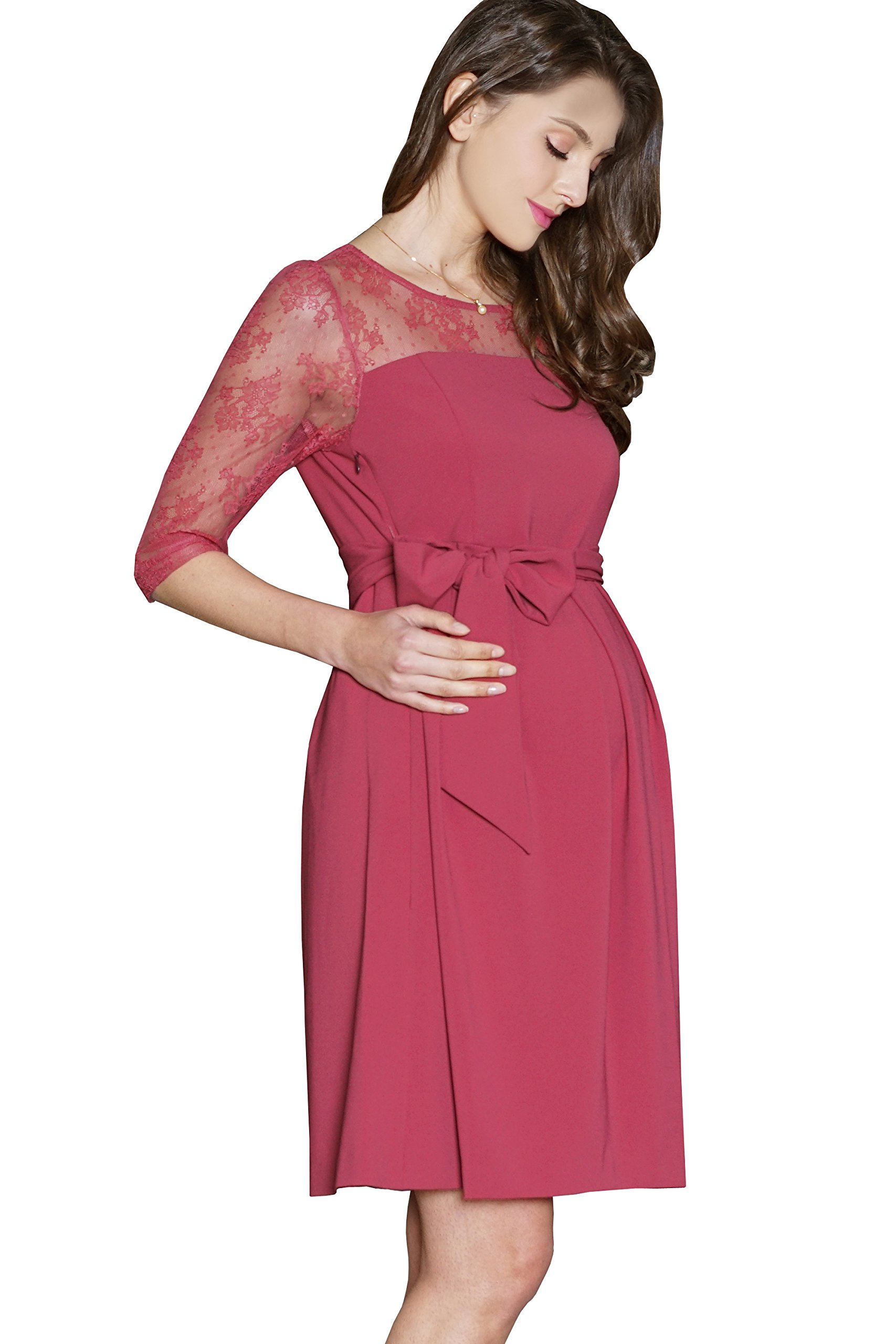 Maternity Nursing Breastfeeding Summer Formal Floral Lace Waist Tie Baby Shower Dress 3/4 Sleeve, Rose, M (US Size: 4-6) by Sweet Mommy