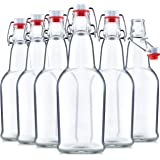 Glass Swing Top Beer Bottles - 16 Ounce (6 Pack) Grolsch Bottles, with Flip-top Airtight Lid, for Carbonated Drinks, Kombucha