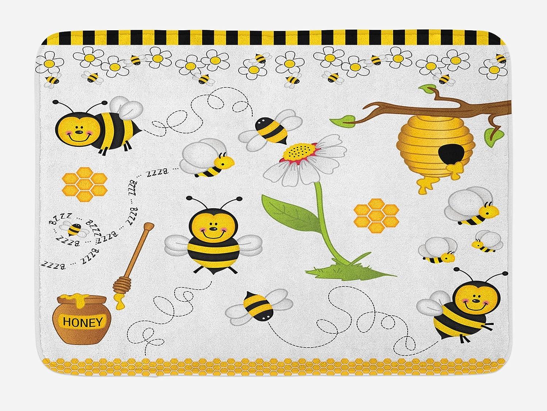 Ambesonne Collage Bath Mat, Flying Bees Daisy Honey Chamomile Flowers Pollen Springtime Animal Print, Plush Bathroom Decor Mat with Non Slip Backing, 29.5