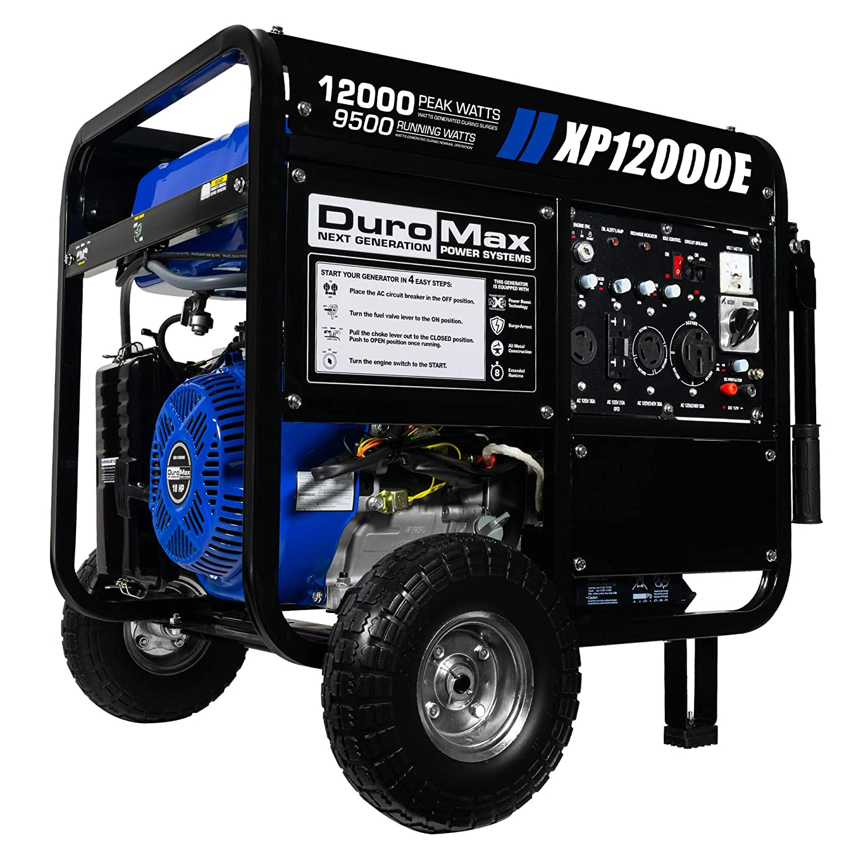 DuroMax XP12000E 12,000-Watt Gas Powered Portable Generator