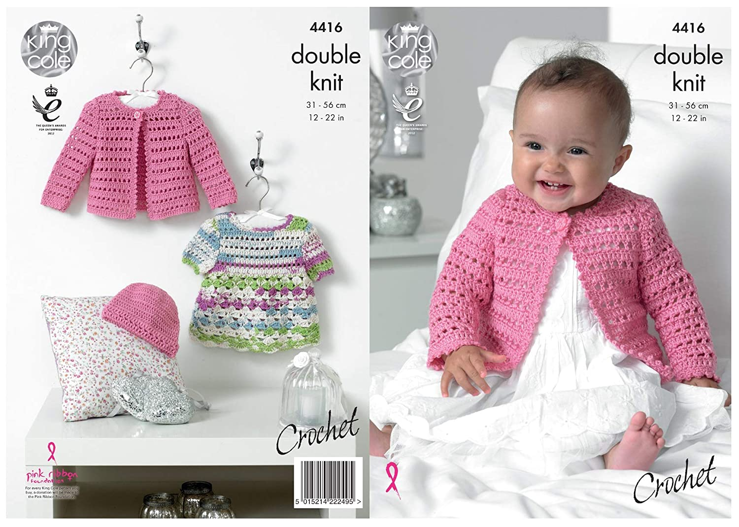 a78b6a1597b King Cole Baby Double Knit Crochet Pattern Lace Effect Dress Cardigan   Hat  Cherished DK (4416)  Amazon.co.uk  Kitchen   Home