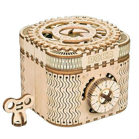 ROBOTIME Mechanische Modellbausätze Treasure Box - 3D Holzpuzzle Lasergeschnittene Denksportaufgabe - Einzigartiges Spielzeug