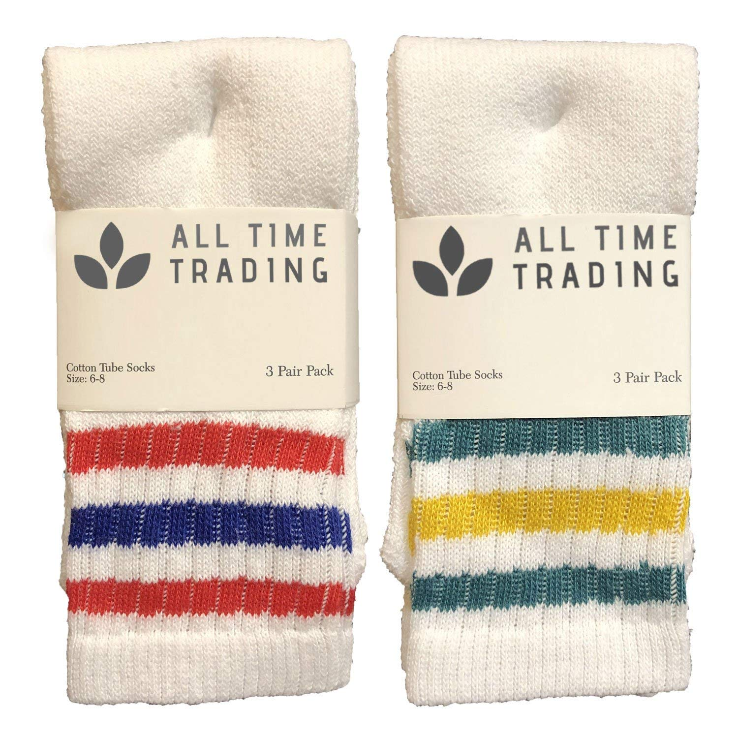Physicians Approved Girls Cotton Diabetics Quarter Ankle Socks 4-6 Assorted w/Green Yellow/Reed Blue Stripe - 240 Pack