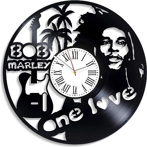 Kovides Bob Marley Wall Clock Bob Marley Birthday Gifts for Fan Reggae Music Vintage Vinyl Record Clock Handmade Decor for Nursery Reggae Music Bob Marley One Love Art Modern Clock Wall