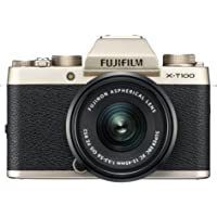 Fujifilm X-T100 Mirrorless Digital Camera w/XC 15-45PZ Lens kit Champagne Gold