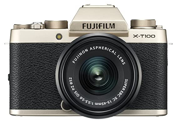 Fujifilm X Series X-T100 24.2MP Mirrorless Camera (Champagne Gold) with XC15-45mm Lens Kit Mirrorless System Cameras at amazon