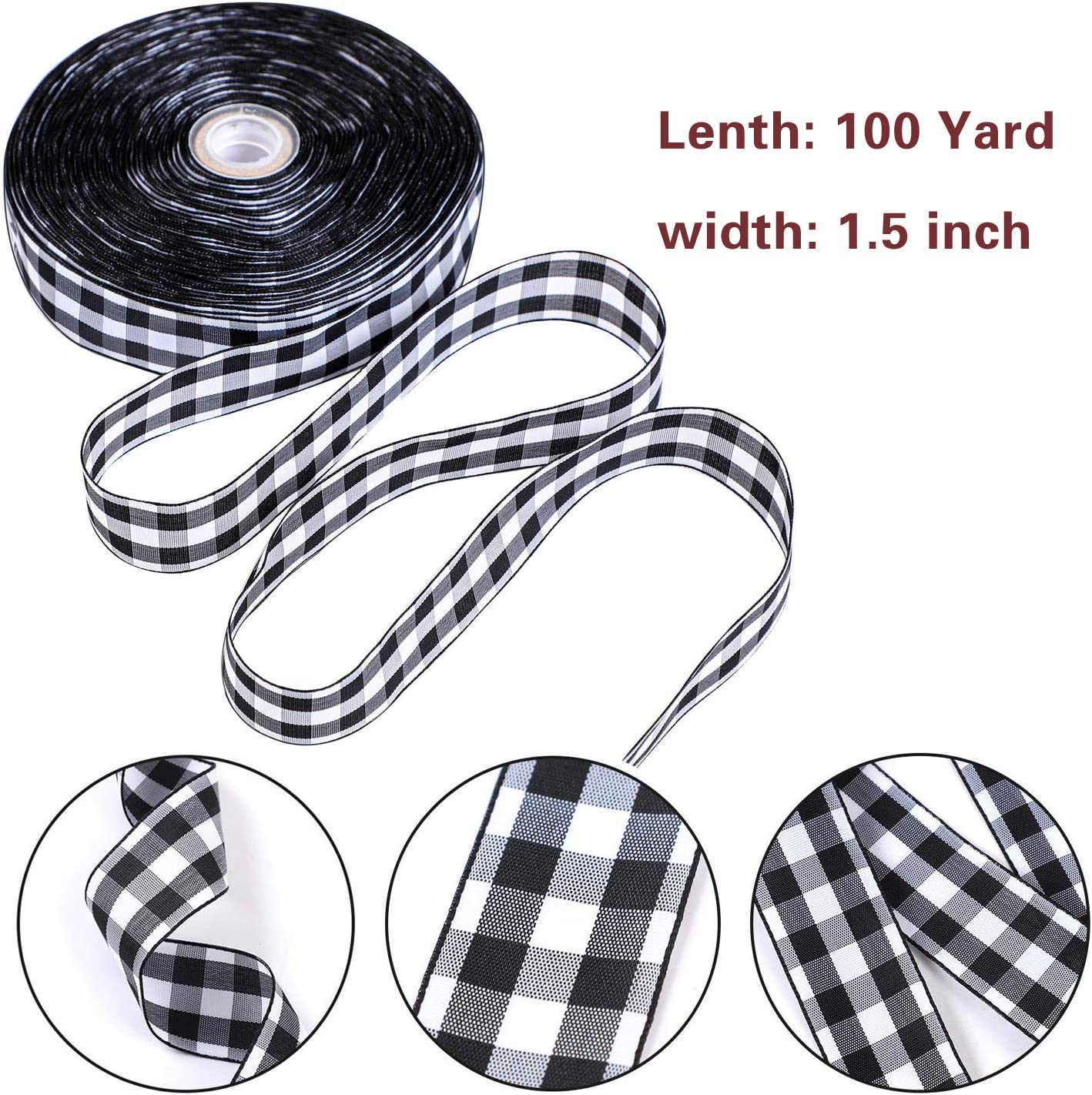 Floral Bows Onene 100 Yards 1.5 Inches Black and White Plaid Burlap Ribbon Christmas Wrapping Ribbon Gingham Plaid Ribbon for DIY Crafts Decoration