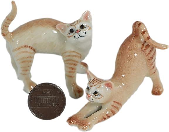 2 naranja gatos/gato Estatua Animal miniatura de cerámica pintada a mano de cerámica (2