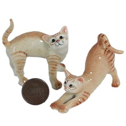 2 naranja gatos/gato Estatua Animal miniatura de cerámica ...