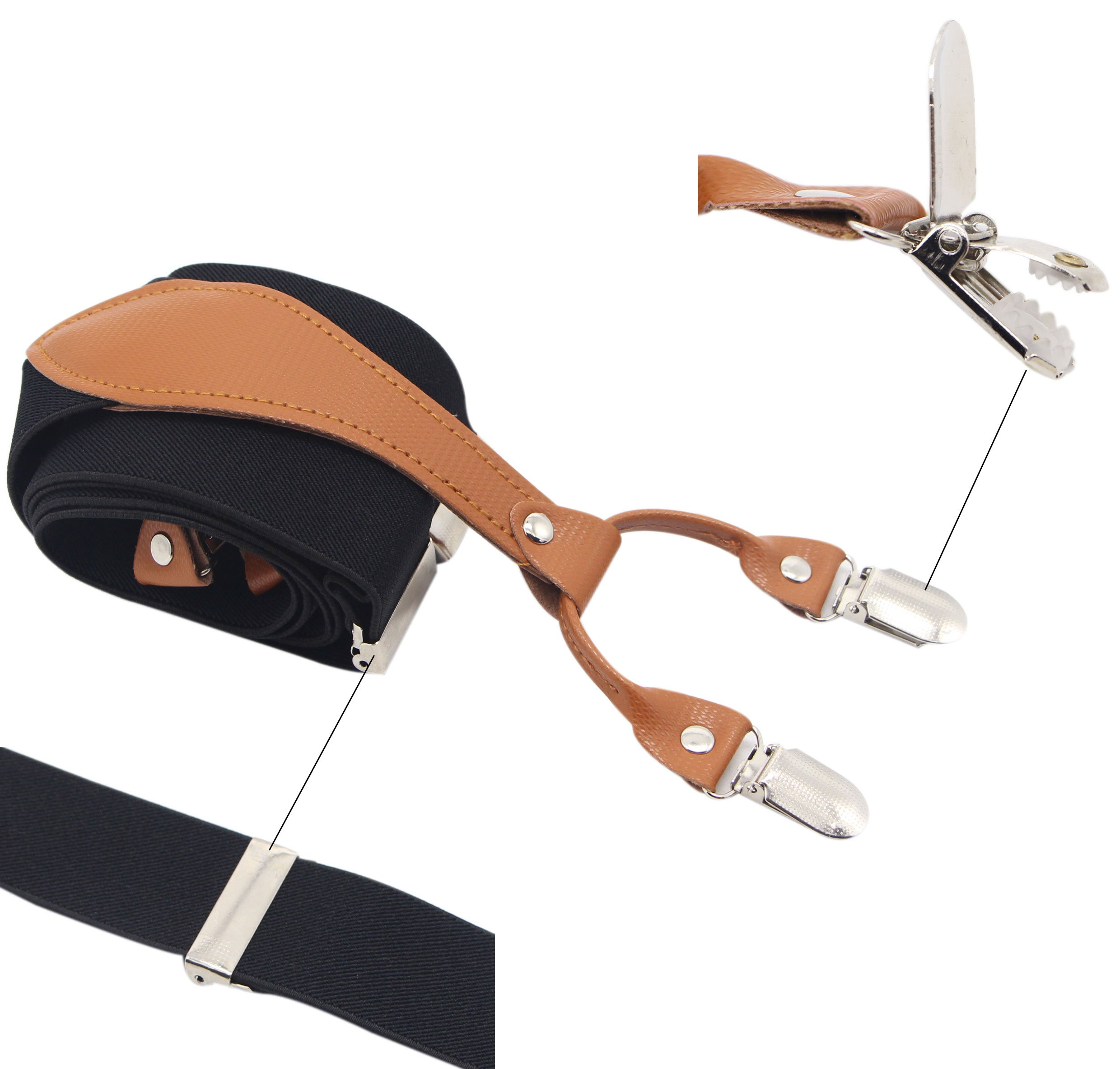 Suspenders 6 Strong Clips Colour /& Length Selectable 3,5cm Wide