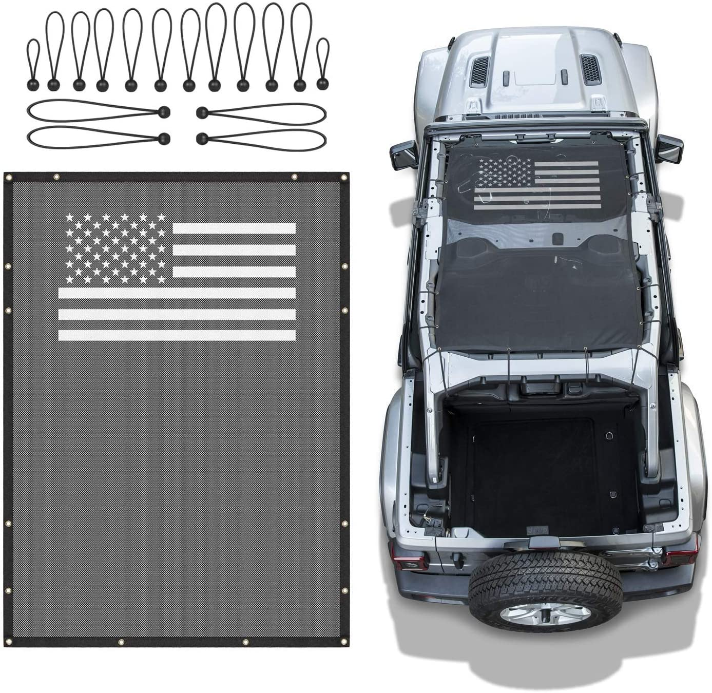 Black bestaoo Polyester Top Cover Provides UV Sun Protection for Jeep Wrangle JL 2018-2020 Sunshade Mesh Top Cover for Jeep Wrangle JL 4-Door